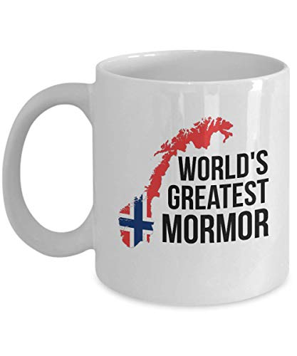 Norway Coffee Mug - Novelty Mormor Norwegian Flag Tea Cup For Women - Best Birthday & Christmas Gift For Grandmothers With Scandinavian Heritage Pride - Proud Nordic Viking Lover Accessories