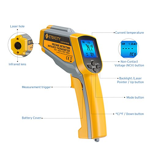 Etekcity Lasergrip 1025D Digital Dual Laser Infrared Thermometer Temperature Gun Non-contact -58℉~1022℉ (-50℃ ~ 550℃) with Voltage Detecting, Adjustable Emissivity by Etekcity (Image #1)