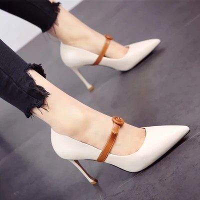FLYRCX Estilo europeo primavera verano zapatos de tacón alto delgado más superficiales y sexy moda personalidad única Dama zapatos Zapatos de fiesta b