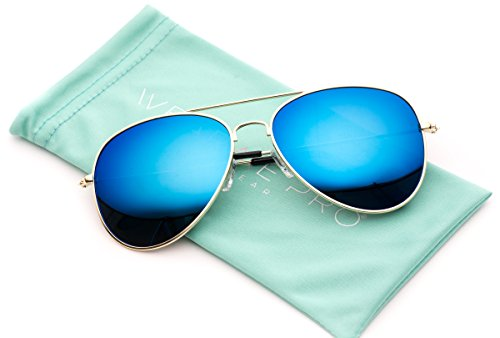 WearMe Pro - Polarized Metal Frame Pilot Style Aviator Sunglasses (Gold Frame / Mirror Blue Lens, 55 - Blue Reflective Aviators
