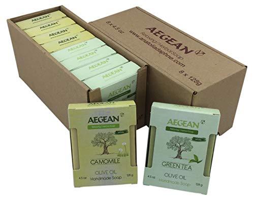 100% Natural Handmade Vegan Soap Bar, Gift Set, 4.5 oz Each Bar, 8 Pieces (Camomile - Green Tea)