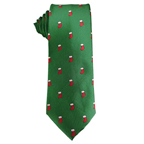 Mens Woven Neckties Design Tie Holiday Christmas Gift Green Neck Tie (Sock) -