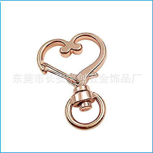 JCBIZ 20pcs Gold Heart Design Spring Snap Keychain Clip Zinc Alloy DIY Key Chains Accessories Creative Pentagram Hanging Buckle