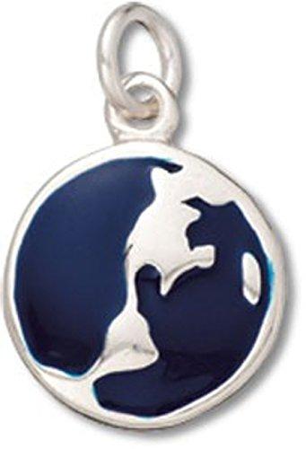 Enameled Globe Charm - Sterling Silver Two Sided Enameled Blue Earth Globe Dangle Charm Bead For Bead Charm Bracelet