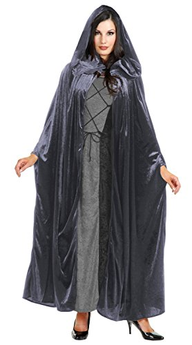 Robe With Grey Hood Costumes (Panne Velvet Hooded Cloak Costume Accessory - One Size - Chest Size 40-44)