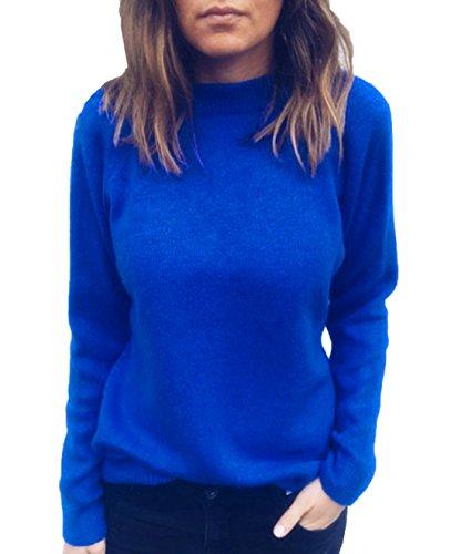 JackenLOVE Primavera e Autunno Maglieria Donna Casual Tinta Unita Maglione Jumper Bluse Moda V Collo Sweater a Manica Lunga Tops Pullover Blu
