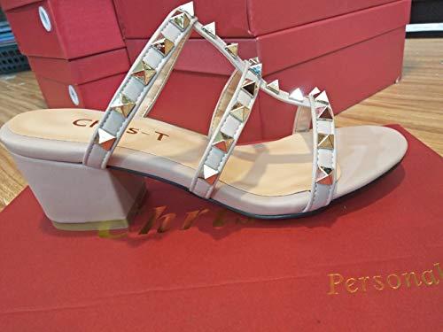 Sandales 2 Pouces Bout Talons Chris Pompes T Bloc de Chunky Nu de Robe Bande Sandales de Femmes Ouvert Cloutéestalon IqIfwT