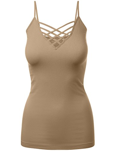 Lattice Front Seamless Cami with Adjustable Strap Tops Coffee 2XL-3XL]()