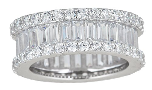 Decadence Sterling Silver Cubic Zirconia Round & Baguette Eternity Ring