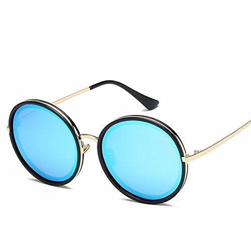 Protector Sol Polvo Cerezo enmarcado Calle Gafas Polvo en Solar Black en Sol Liuxc Gafas de de la Redondeado Gran Gafas de sol azul chip de wxWHqTXz