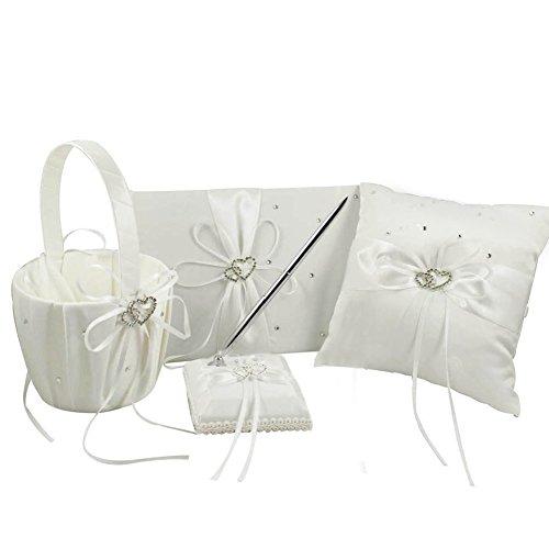 AerWo 1 Wedding Guest Book+ 1 Ring Bearer Pillow + 1 Flower Girl Basket+ 1 Pen Set, Decor Ribbon Bowknot Double Heart Diamante Crystal Rhinestone Buckle, Elegant Wedding Ceremony Party, (Rhinestone Heart Wedding Garters)