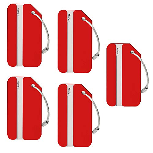 Aluminum Luggage Tags Holders, Bright Suitcase Tags & Luggage Baggage Identifier by LouisJoeYu(Red-5)