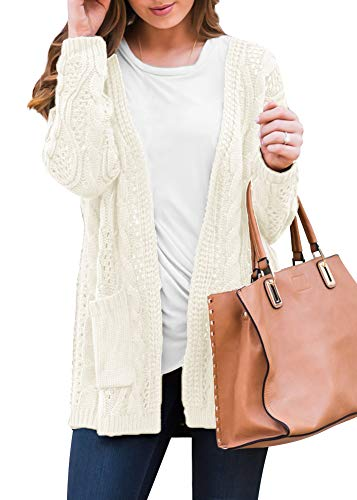 Intimate Boutique Womens Plain Pocket Long Sleeve Cable Knit Open Front Winter Casual Cardigans Sweater Oatmeal M