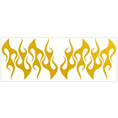 LiteMark Reflective Yellow 4 Inch Flames Sticker Decals for Helmets, Bicycles, Strollers, Wheelchairs and More - Pack of 8
