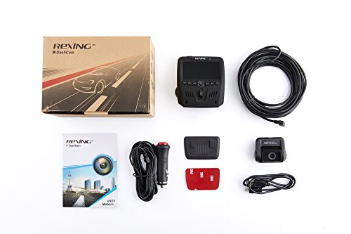 Rexing V1LG Dual Channel Car Dash Cam FHD 1080p 170 Wide Angle Dashboard Camera Recorder With HD Rear Camera Built In GPS Logger 16GB Memory Card G Sensor WDR Loop Recording