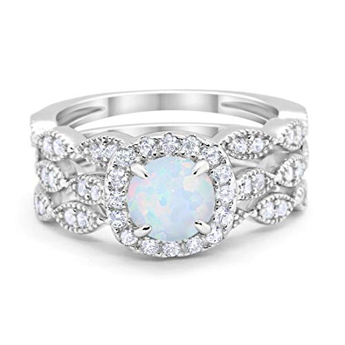 Blue Apple Co. Halo Art Deco Three Piece Wedding Engagement Bridal Set Ring Band Solid Lab White Opal 925 Sterling Silver, ()