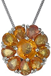 Vir Jewels Sterling Silver Orange Sapphire Pendant (1.85 CT) With 18 Inch Chain