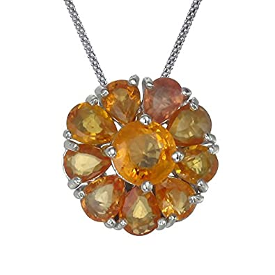 Amazon sterling silver orange sapphire pendant 185 ct with sterling silver orange sapphire pendant 185 ct with 18 inch chain aloadofball Gallery
