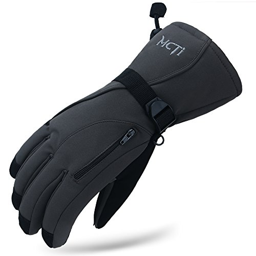 MCTi Waterproof Mens Ski Gloves Winter Warm 3M Thinsulate Snowboard Snowmobile Cold Weather Gloves Grey X-Large