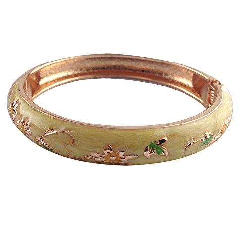 (UJOY Vintage Bracelet Colorful Cloisonne Women Girls Hinged Bangles Enameled Bracelets Jewelry Gifts 55A83 Yellow)
