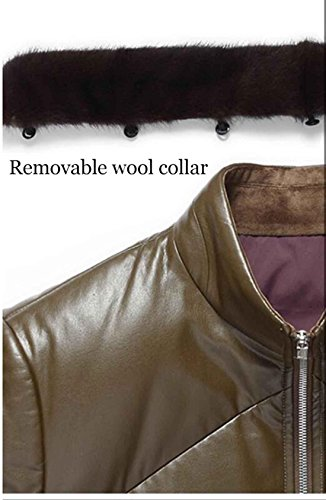 desmontable de fina invierno abrigo 3xl piel chaqueta de de para piel de hombre PJK Cuello polar cuero forro parka red 8TqvFxv