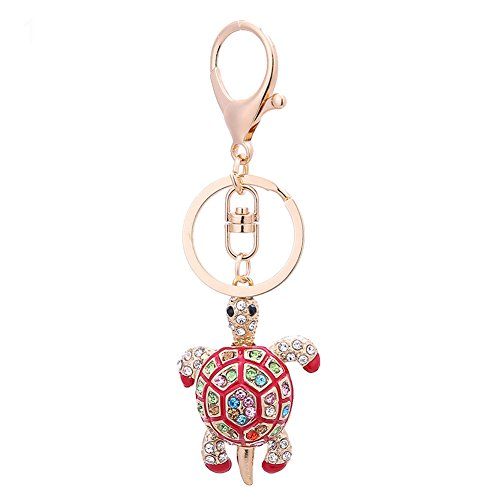 Finance Plan Big Promotion Decorative Key Chain Colorful Rhinestone Turtle Charm Pendant Car Key Ring Gift ()