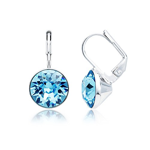 MYJS Bella Rhodium Plated Mini Drop Earrings with Aquamarine Blue Swarovski ()