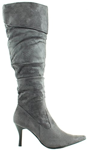 Grey Suede Folded Pointed with Chamilia Forever 19 Boots Heel Women's High Shaft TPqwIzxfw