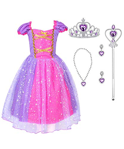 Suyye Princess Rapunzel Cinderella Costume Dress with Accessories for Baby Girl(Purple,3-4Y) -