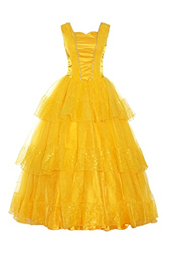 ReliBeauty Womens Princess Belle Costume Tiered Dress up, Yellow, (Female Dress Up Costumes)