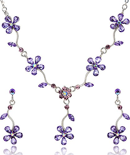 Amethyst Color Five Leaf Flower Petal Crystal Rhinestone Necklace and Earrings Jewelry Set [Bridal Jewelry]