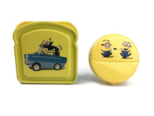 (Minions Lunch Box 2 Piece Set Kit, 1 BPA Free Reusable Sandwich Container, 1 BPA Free Reusable Dry Snack Container Kids Lunch Box Travel & To-Go Food Containers ~)