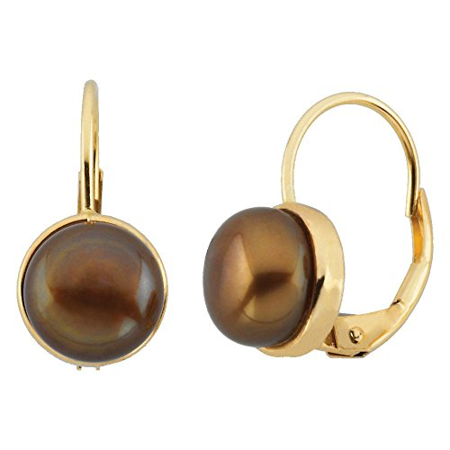 - 14k Yellow Gold Freshwater Dyed Chocolate Pearl Earrings