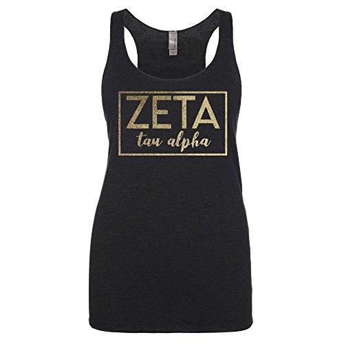 Go Greek Chic Zeta Tau Alpha Metallic Foil Tank Top (Small, - Tau Zeta Merchandise Alpha