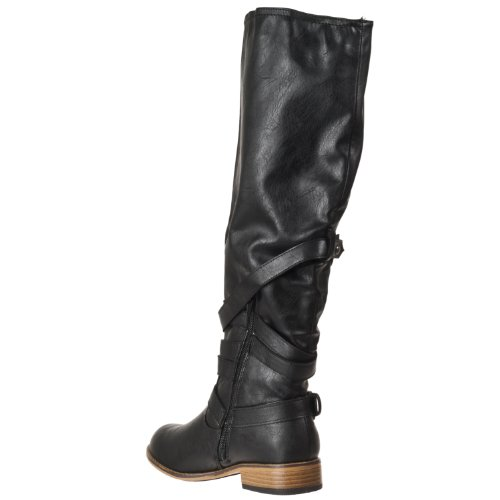 Bamboo Womens Parksville Knee-high Strap-detail Fashion Boots Black AH0Re9Abk