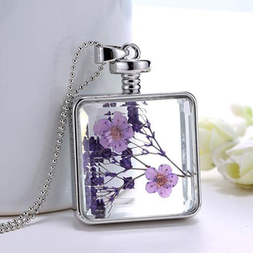 bromrefulgenc Flower Glass Necklace,Women's Dried Lavender Flower Glass Square Pendant White Gold Plated Necklace