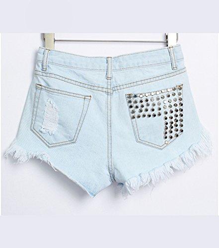 Baymate Mujer Elegante Remaches Jean Suelto rotos Pantalones Cortos Cintura Alta Denim Shorts Luz Azul