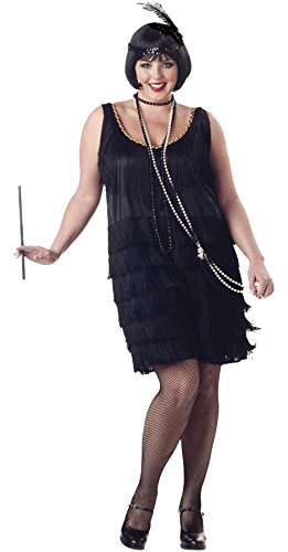 [UHC Women's 1920'S Jazz Time Flapper Fash Halloween Themed Dress, 2XL (18-20)] (Plus Size Black Jazz Flapper Costumes)