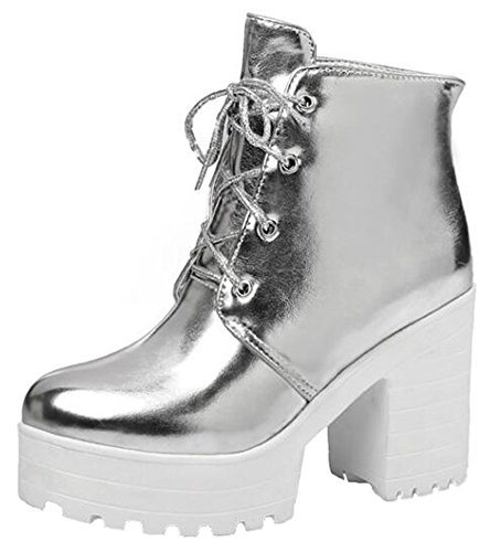 Summerwhisper Women's Stylish Burnished Lace up Round Toe Block High Heel Platform Ankle Boots Silver 10 B(M) US Silver Platform Boots