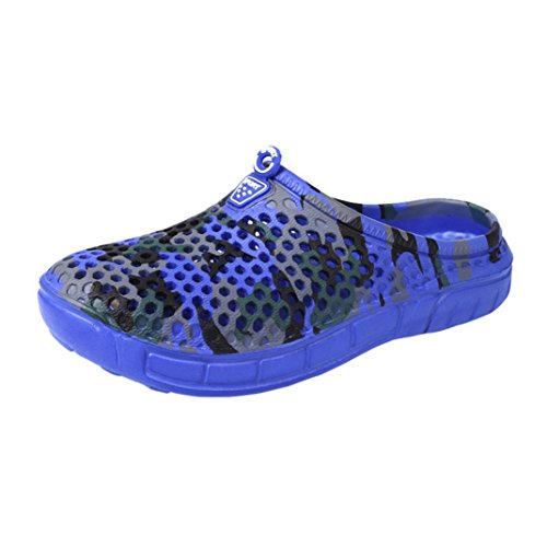LHWY Herren Slipper, Männer Schnell Trocknend Sommer Strand Pantoffel Flache Breathable Outdoor Sandalen Männliche Clog Schuhe Blau