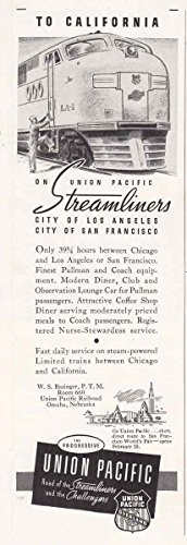 1939 Union Pacific Railroad: Streamliners, City of Los Angeles, Union Pacific Railroad Print Ad