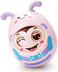 Tumbler Toy Baby Infant Newborn Toys Bee ChimeToys with Sound Big Size Nodding Doll Novelty Educational Toys Gift for Boys Girls (Pink)