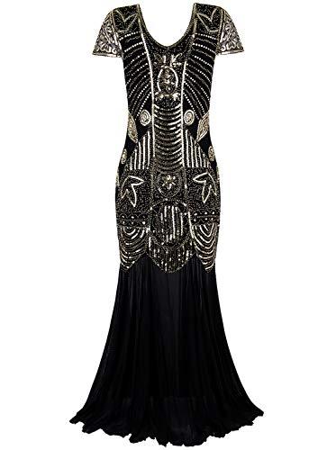 Vijiv Women's 1920s Beaded Flapper Dress Sequin Maxi Formal Wedding Evening Gown]()