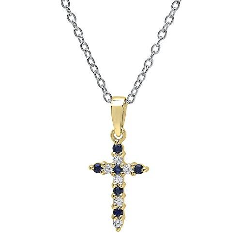 Dazzlingrock Collection 14K Round Blue Sapphire & White Diamond Ladies Cross Pendant, Yellow Gold