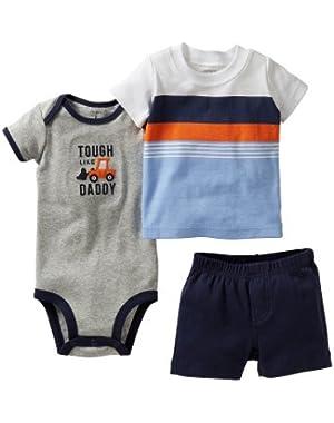 'Tough Like Daddy' 3 Shirt Bodysuit & Short Set (nb)