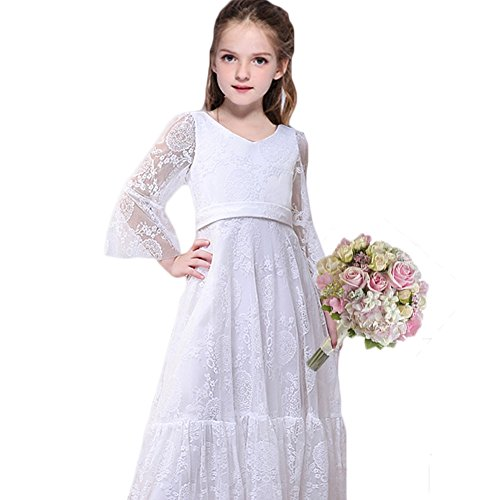 CQDY White Flower Girl Lace Dress Long Sleeves Children Baptism Dress First Communion Dress for 2-13T (2-3T) for $<!--$19.99-->