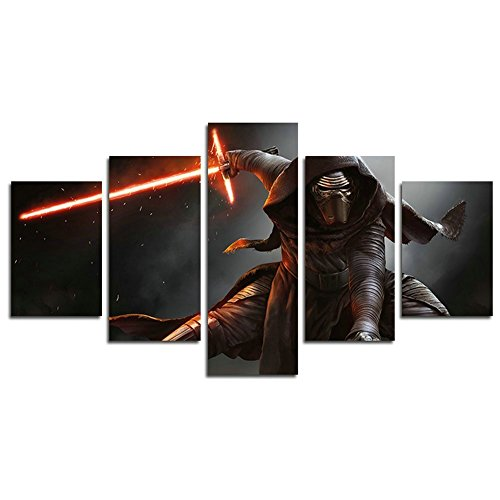 Leyrus 5 Piece Star Wars kylo ren movie painting for living room home decor Canvas art wall poster (No Frame) Unframed YSH042 50 inch x30 inch