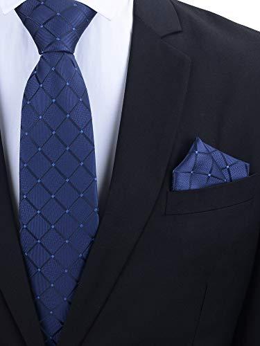 Lizzton 3.15 Men Ties Handmade Woven Classic Necktie & Pocket Square Set + Gift Box