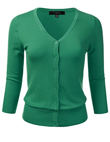 Knit Cardigan Sweater Top (FLORIA Womens Button Down 3/4 Sleeve V-Neck Stretch Knit Cardigan Sweater KELLYGREEN M)