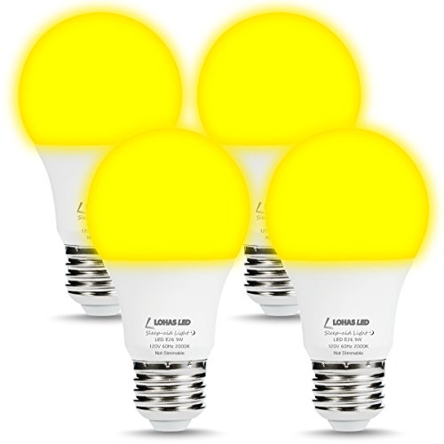 LOHAS Yellow Bug Light Bulbs, A19 LED Bulb Amber Night Lights 2000K, 60W Light Bulb Equivalent(9W), E26 Medium Base Porch Light 120V, Not Dimmable Lighting for Hallway Holiday Party(4 Pack) -
